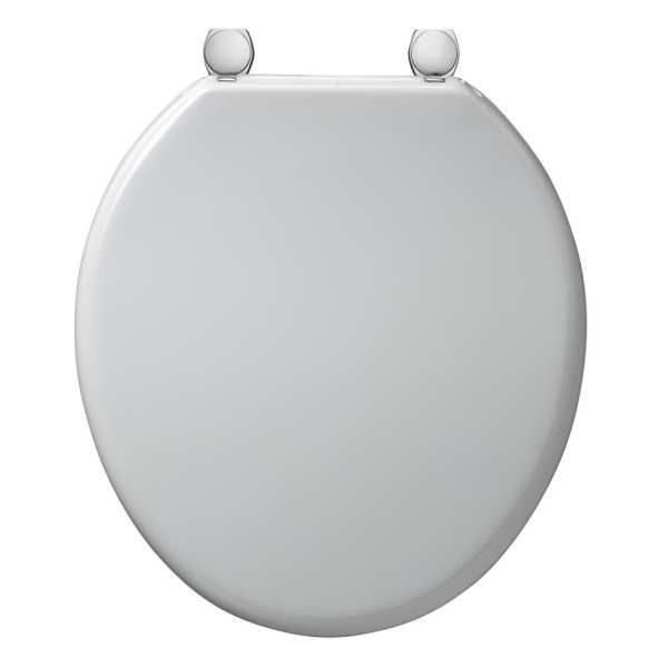 Armitage Shanks Bakasan toilet seat and cover with stainless steel rod and chrome plated pillar hinges