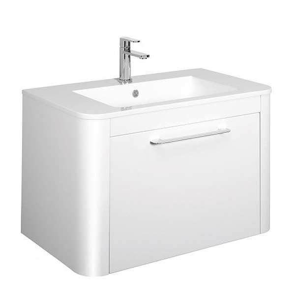 Bauhaus Celeste 80 Single Drawer White Gloss Vanity Unit PLUS CERAMIC Basin CL8000DWG+ CL0811SCW