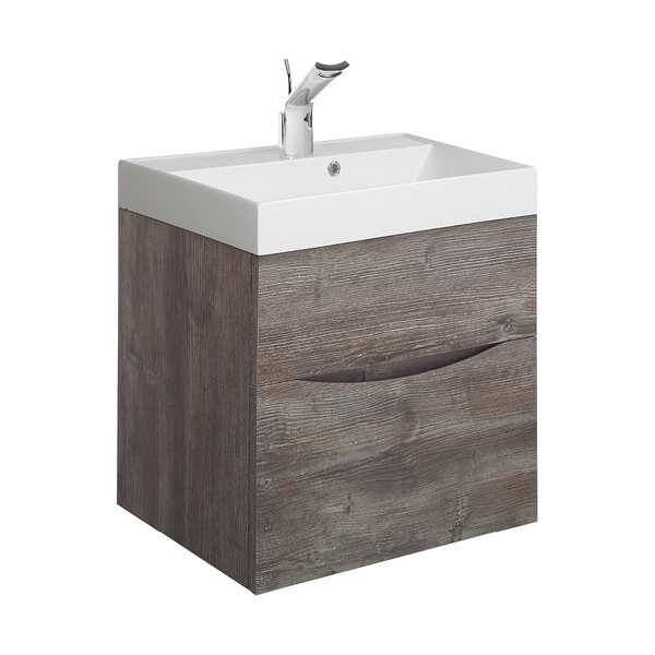 Bauhaus Glide II 50 Two Drawer Driftwood Vanity Unit PLUS White Mineral Marble Basin GL5000DDW+ DE0002SRW