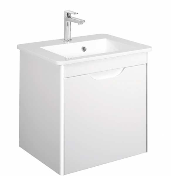 Bauhaus Solo Single Drawer White Gloss Vanity Unit PLUS White Mineral Marble Basin SO5500DWG SO0511SRW