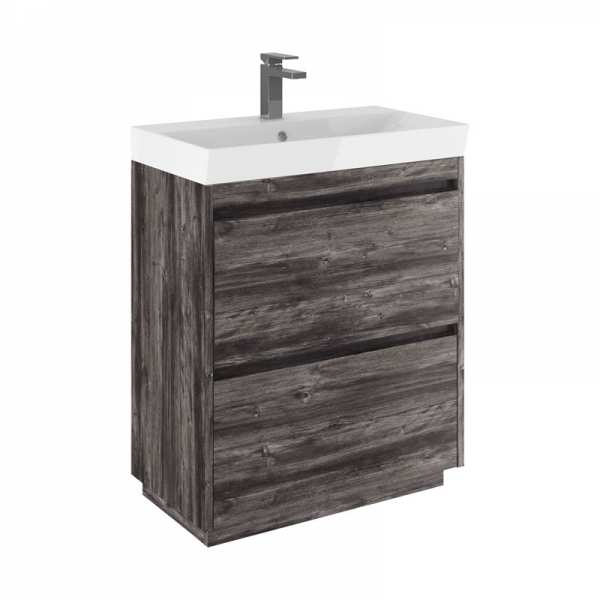 Bauhaus Zion 70 Double Drawer Driftwood Vanity Unit PLUS CERAMIC Basin ZI7000DDW ZI0711SCW