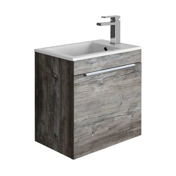 Bauhaus Zion 50 Single Drawer Driftwood Vanity Unit PLUS CERAMIC Basin ZN4900DDW ZN0501SCW