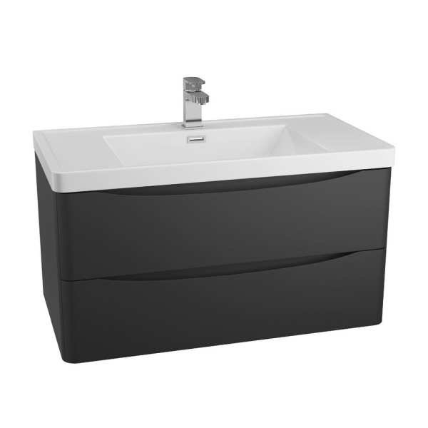 Cassellie Bali Black Wall Mounted Vanity Unit 900mm BKWMC894A