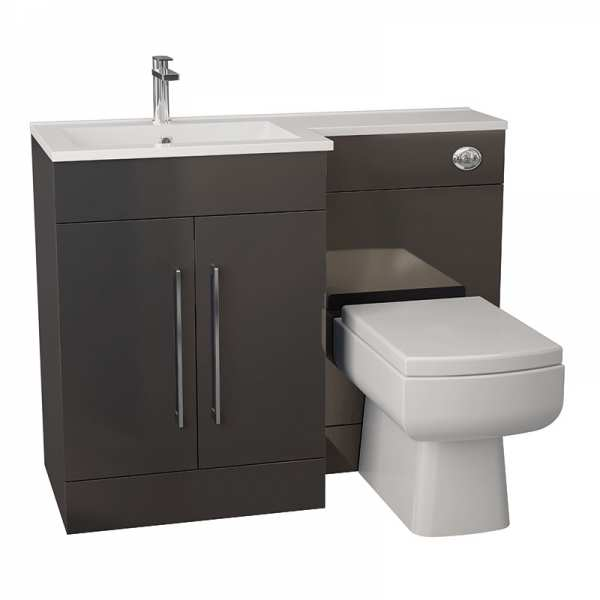 Cassellie Maze Anthracite Vanity WC Unit with Thin Edge Basin LEFT HAND