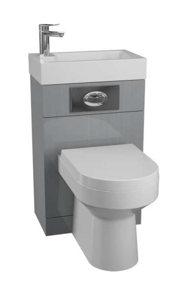 Cassellie Grey Futura Basin And WC Unit With Montego Pan And Seat FUT103 MON