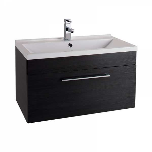 Cassellie Idon 800 Black Single Drawer Wall Hung Basin Unit ID80WH BLK