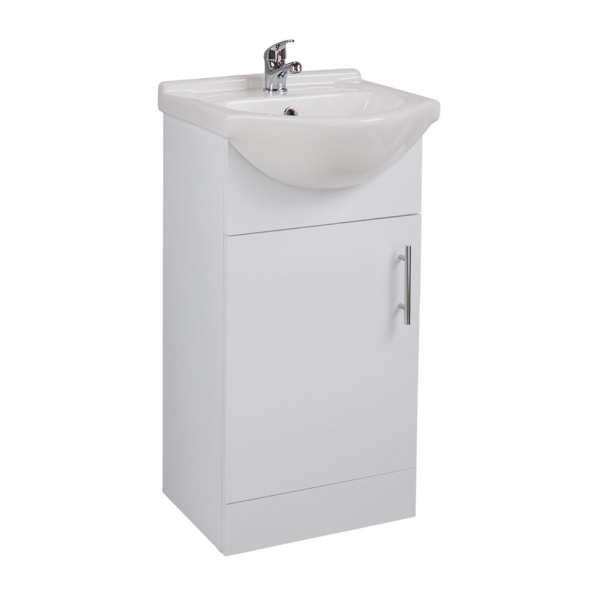 Cassellie Kass White Vanity Unit with Basin 450mm KS45BU BAS