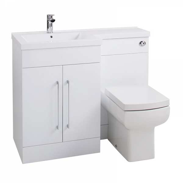 Cassellie Maze Gloss White Vanity WC Unit with Mid Edge Basin LEFT HAND