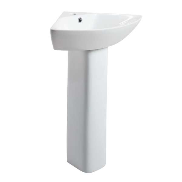 Cassellie Spek 1 Tap Hole Corner Basin with Full Pedestal SPEK009