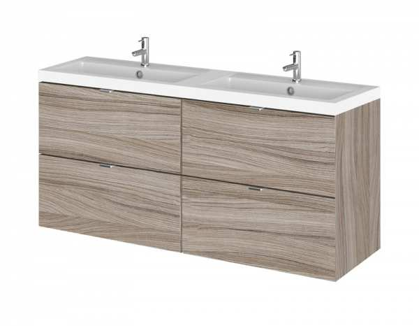 Hudson Reed Fusion Driftwood 1200mm Wall Hung Double Basin Vanity Unit CBI232