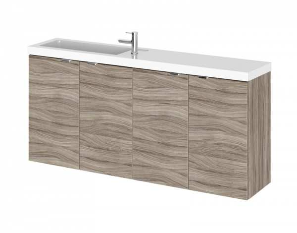 Hudson Reed Fusion Driftwood 1200mm Wall Hung Slimline Double Basin Vanity Unit CBI235