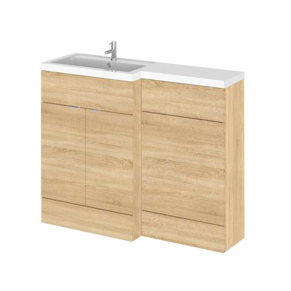 Hudson Reed Fusion Natural Oak 1100mm LH Combination Furniture Unit and Basin CBI302