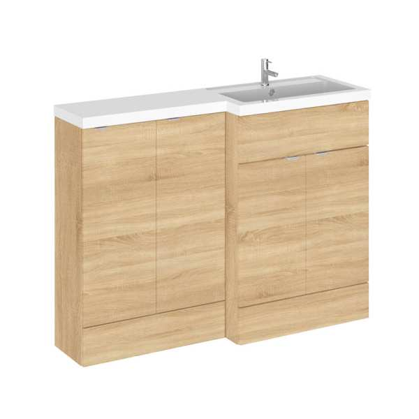 Hudson Reed Fusion Natural Oak 1200mm RH Combination Furniture Unit and Basin CBI312