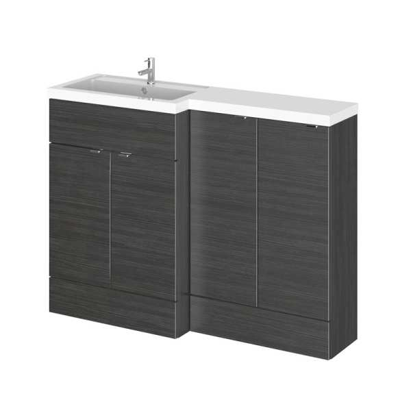 Hudson Reed Fusion Black 1200mm LH Combination Furniture Unit And Basin CBI611