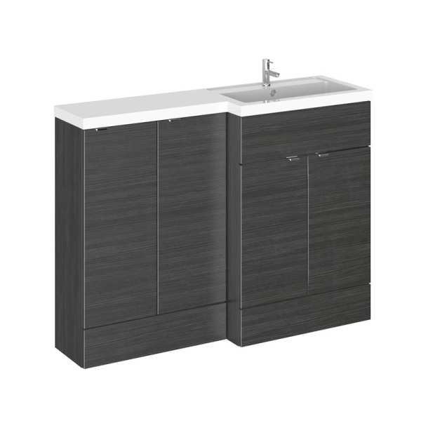 Hudson Reed Fusion Black 1200mm RH Combination Furniture Unit And Basin CBI612
