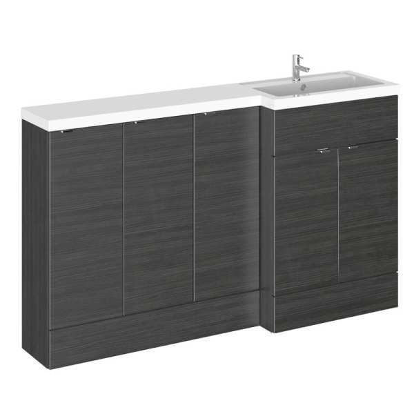 Hudson Reed Fusion Black 1500mm RH Combination Furniture Unit And Basin CBI618