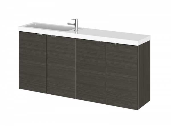 Hudson Reed Fusion Hacienda Black 1200mm Wall Hung Slimline Double Basin Vanity Unit CBI635
