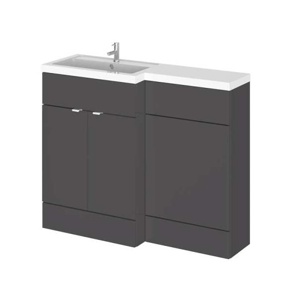 Hudson Reed Fusion Gloss Grey 1100mm LH Combination Furniture Unit And Basin CBI902