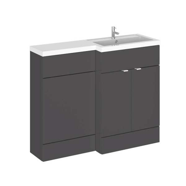 Hudson Reed Fusion Gloss Grey 1100mm RH Combination Furniture Unit And Basin CBI903