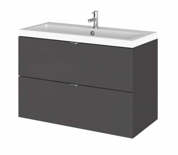 Hudson Reed Fusion Gloss Grey 800mm Wall Hung Vanity Unit and Basin CBI931
