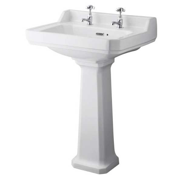 Hudson Reed Richmond 600mm Basin and Pedestal (2 Tap Hole) CCR020