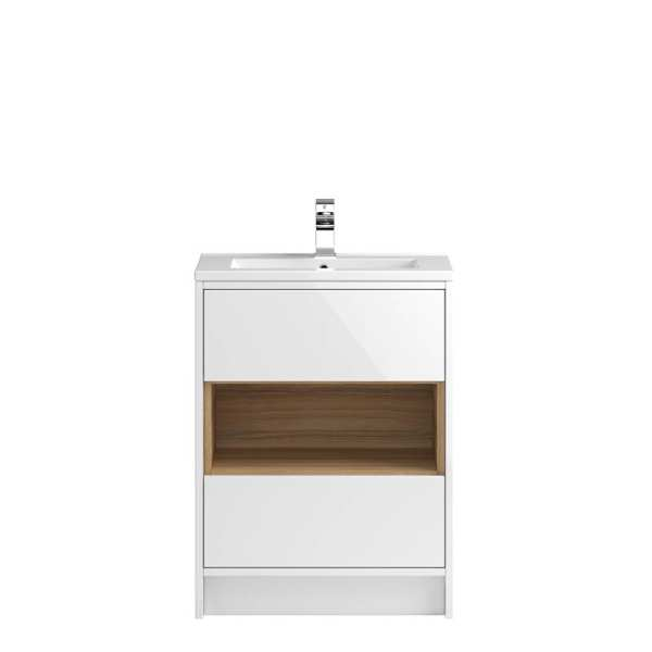Hudson Reed Coast White Gloss Floor Standing 600mm Cabinet and Basin 1 CST976E