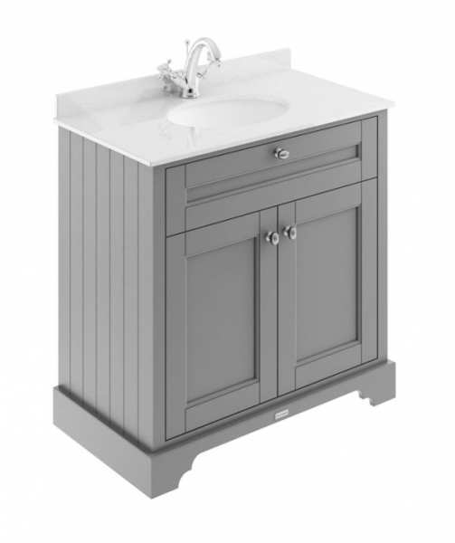 Hudson Reed Old London Storm Grey 800mm Unit And Basin (1 Tap Hole) LOF228