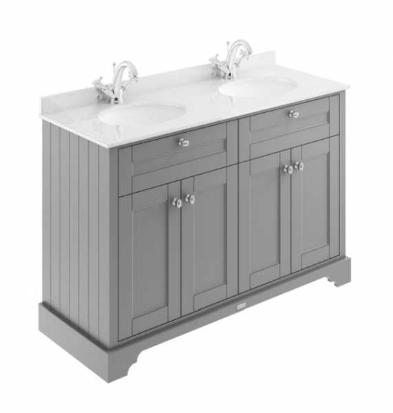 Hudson Reed Old London Storm Grey 1200mm Unit And Double Basin (1 Tap Hole) LOF264