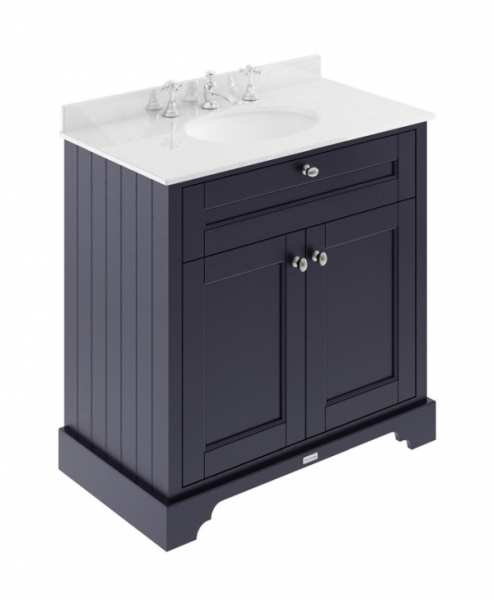 Hudson Reed Old London Twilight Blue 800mm Unit And Basin (3 Tap Hole) LOF331