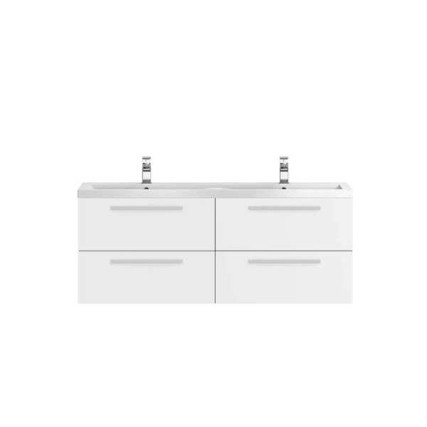 Hudson Reed Quartet White Gloss 1440mm Double Cabinet and Basin QUA001