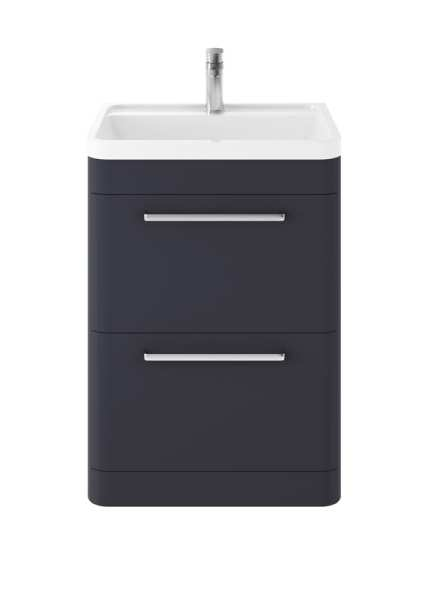 Hudson Reed Solar Indigo Blue 600mm Floor Standing Unit And Basin SOL301