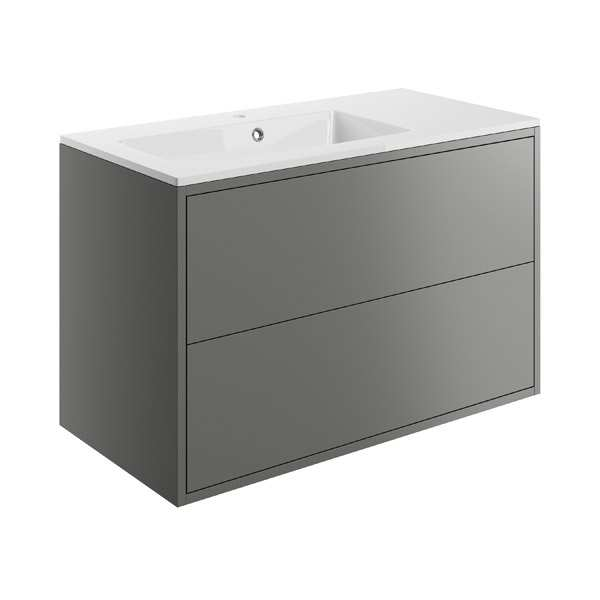 Moods Perla Matt Grey 900mm 2 Drawer Vanity Unit Inc Offset Basin DIFTP1498