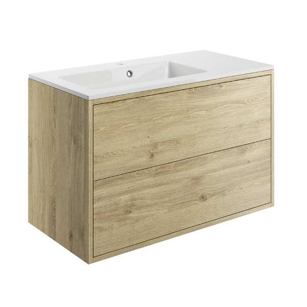 Moods Perla Havana Oak 900mm 2 Drawer Vanity Unit Inc Offset Basin DIFTP1506