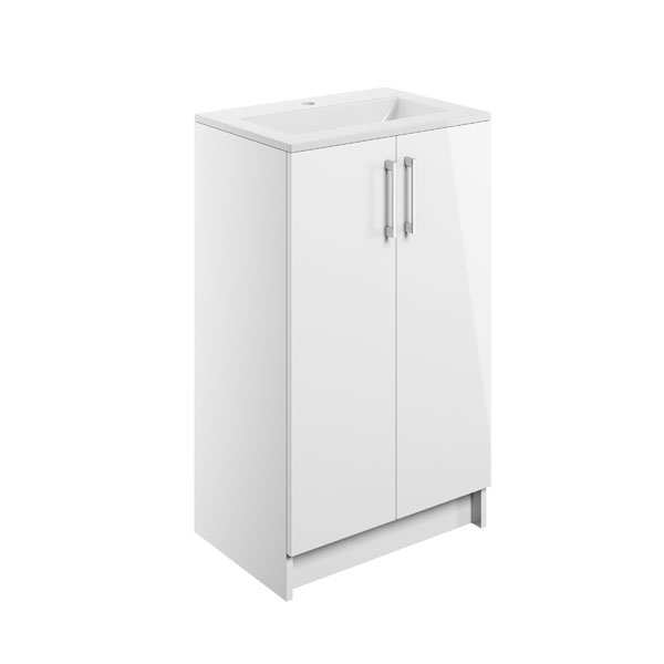 Moods Volta White Gloss 510mm Two Door Floor Standing Unit Inc Basin DIFTP1512