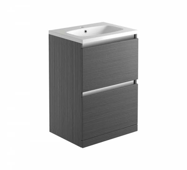 Moods Carino Graphitewood Freestanding 600mm Unit and Basin DIFTP1668