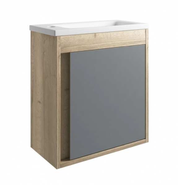 Moods Senzo 500mm Natural Oak and Matt Grey Wall Mounted Cloakroom Unit with Basin DIFTP1676