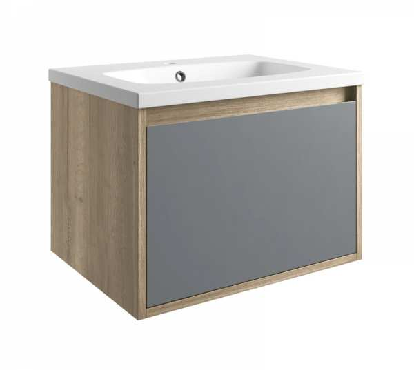 Moods Senzo 600mm Natural Oak and Matt Grey Wall Mounted 1 Drawer Unit and Basin DIFTP1680