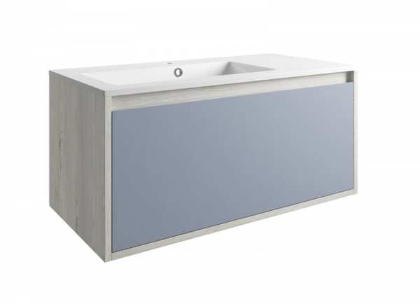Moods Senzo 900mm Mountain White and Denim Blue Wall Mounted 1 Drawer Unit and Basin DIFTP1682