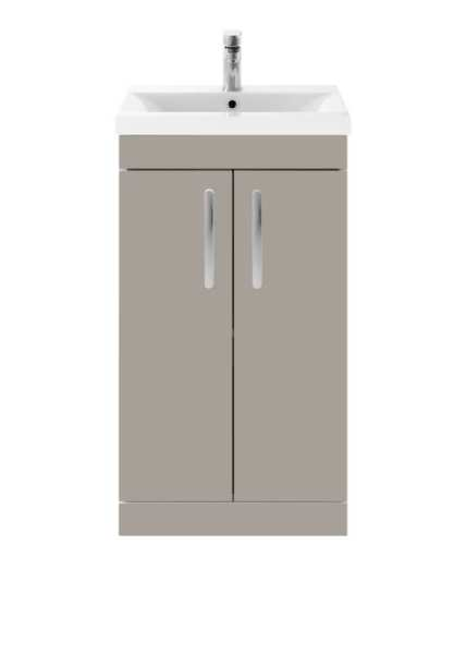 Nuie Athena Stone Grey Floor Standing 500mm Cabinet and Basin 1 ATH007A