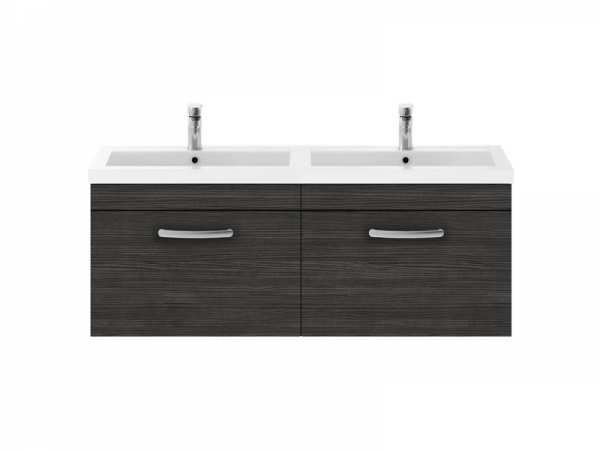 Nuie Athena Hacienda Black Wall Hung 1200mm Cabinet and Double Basin ATH040C