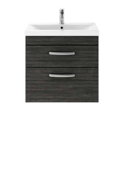 Nuie Athena Hacienda Black Wall Hung 600mm Cabinet and Basin 2 ATH047B