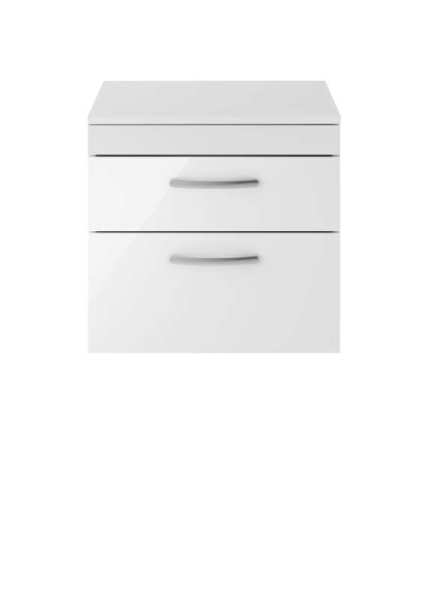 Nuie Athena Gloss White Wall Hung 600mm Cabinet and Worktop ATH048W