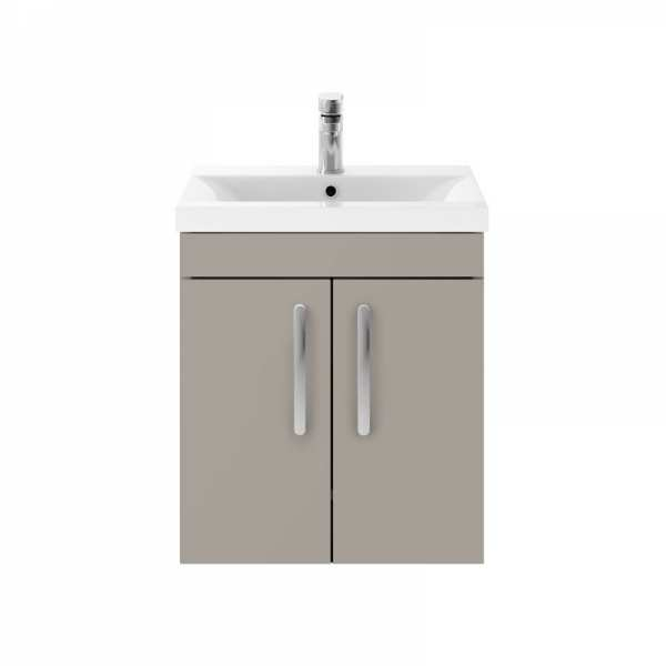 Nuie Athena Stone Grey Wall Hung 500mm Cabinet and Basin 1 ATH083A