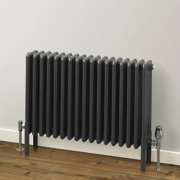 Rads 2 Rails Fitzrovia 2 Column Anthracite Horizontal Radiator 500mm x 622mm