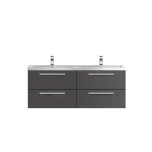 Hudson Reed Quartet Grey Gloss 1440mm Double Cabinet and Basin QUA002