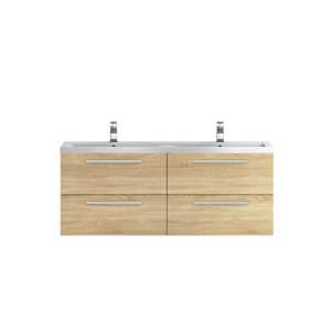 Hudson Reed Quartet Natural Oak 1440mm Double Cabinet and Basin QUA004