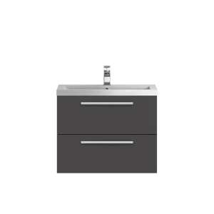 Hudson Reed Quartet Grey Gloss 720mm Cabinet and Basin QUA006