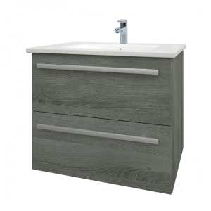 Kartell Purity 600mm Wall Mounted 2 Drawer Unit Grey Ash with Ceramic Basin FUR025PU FUR057PU