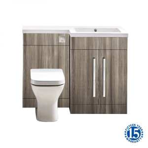 Riviera Cove 1100mm Avola Grey Basin and Toilet Furniture Pack