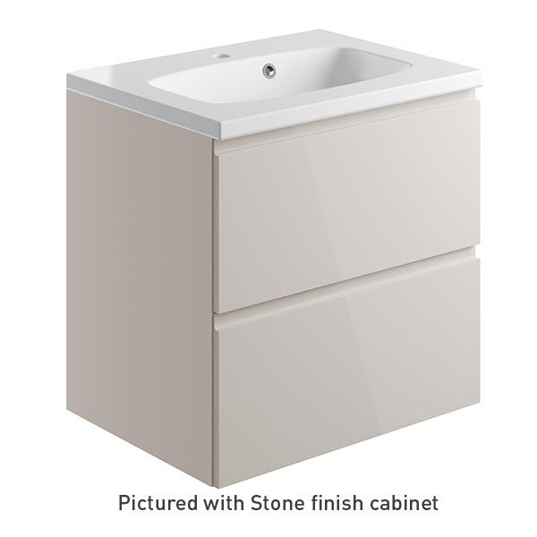 Bathrooms to Love Bello 600mm 2 Drawer Wall Mounted Vanity Unit Inc. Basin Cashmere Gloss
